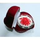 Cameo red rose in white